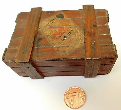 """KLM Air Cargo miniature wooden crate Royal Dutch Airlines vintage advertising 4"""""""