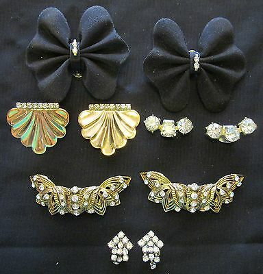 5  Pair  of  Vintage ~ new  Rhinestone Shoe Clip / Clips Lot 6