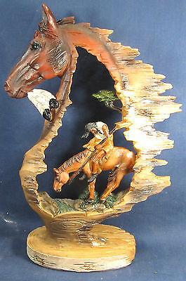 """Horse and Rider """"Trails End"""" American South Western  Decor Figurine"""