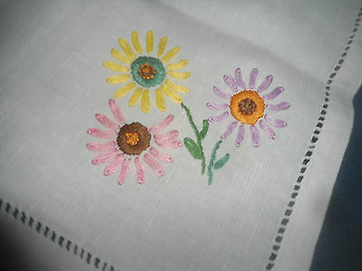 """Very Pretty  White Linen Hand Embroidered Tablecloth 23"""" X 22"""""""