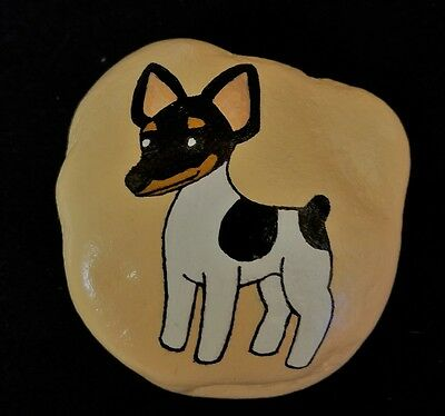 Hand Painted Rock - Rat Terrier