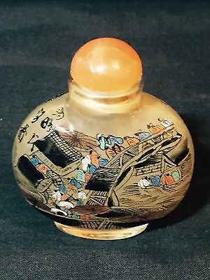 Chinese Snuff Bottle - Beautifully Handprinted - Boxed - 20th century