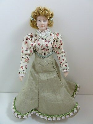 Dolls House Miniature 1:12 Scale Handmade Dressed Lady Doll in a Green Skirt