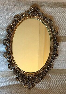 A BEAUTIFUL VINTAGE ORNATE BRASS FRAMED OVAL WALL MIRROR 23cm X 34cm