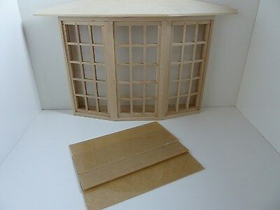 Dolls House Miniature 1:12 Scale House Building Wood 45 Pane Bay Window