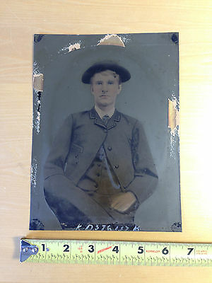 VTG Antique Tintype Photograph Dapper Boy Young Man in Hat