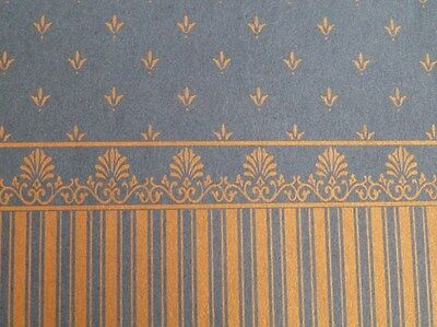 Dolls House Miniature 1:12 Scale Lounge Gold & Blue Wallpaper (P44)