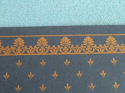 Dolls House Miniature 1:12 Scale Lounge Blue & Gold Wallpaper (P37)