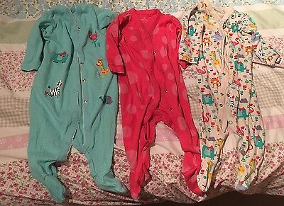 Next Baby Girl 6-9 Months Babygrows Multicoloured Patterned x3