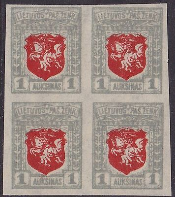 Lithuania Mi 58U Block of 4 MNH OG