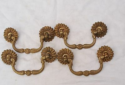 4 Ornate Reclaimed Stylish Brass Drawer Pull Handles