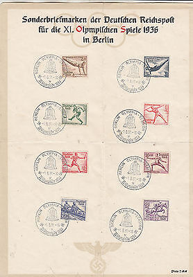 1936 Germany Olympics Set on Special Commemorative Sheet with Berlin cancels