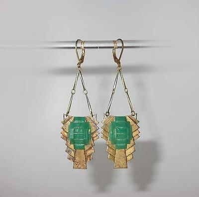GORGEOUS ANTIQUE 1920's ART DECO STEPPED & BEVELED  JADE GLASS DROP EARRINGS!