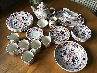 by churchill england set of 37 dinner ware pink/blue/white tableware