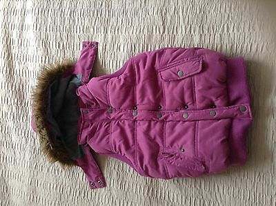 Lovely Fat Face girls purple fur trimmed padded gilet body warmer age 10-11!