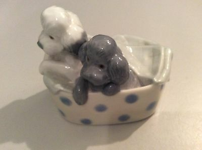 Nao By Lladro 2 Poodles In Basket Circa. 1992 Very Good Condition