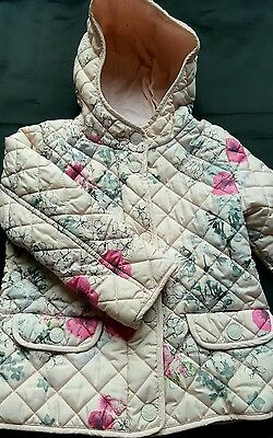 Next Girls Floral Winter Padded Jacket Coat 4-5 yrs