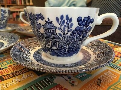 Wessex Collection Blue & White Cup And Saucers X4 Oriental Design New