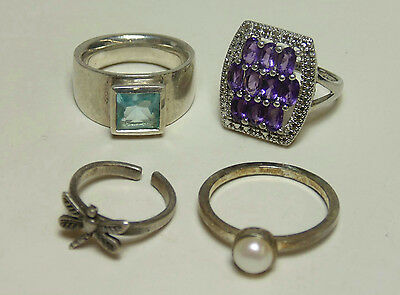 Sterling Silver Jewelry Ring Lot Rhinestone Purple Cluster Blue Dragonfly Pearl