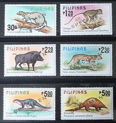 PHILIPPINES, INDIGENOUS MAMMALS SET OF 6, OVERPRINTED SPECIMEN, issued 1979, MNH