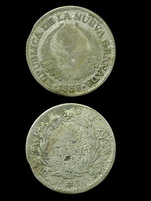 1838 Colombia Silver 1 Real - Scarce - Lower Grade