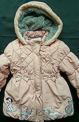 Cute Girls Fur Lined Winter Padded Jacket Coat 4-5 yrs