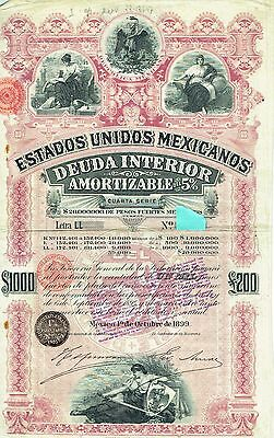 MEXICO Bono Bond $1000 £200 1899 LL Series Pink Lady LL Not super
