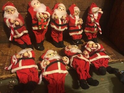 Lot 9 Vintage Poseable Wired Santa Claus Ornaments Chenille Felt Wood