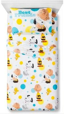 Peanuts Gang Twin Sheet Set Snoopy Charlie Brown Movie Flat Fitted Pillowcase