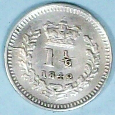 Great Britain 1 1/2 Pence 1842 Almost Uncirculated 0.9250 Silver Coin