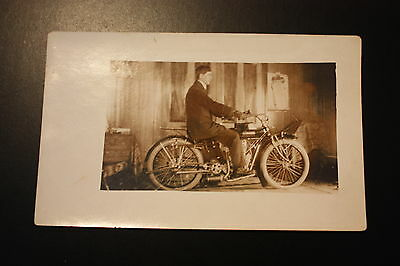 Early Real Photo postcard INDIAN Motorcycle
