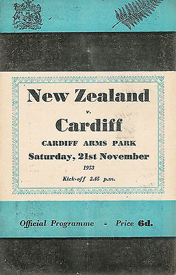 NEW ZEALAND ALL BLACKS TOUR 1953 v CARDIFF RUGBY PROGRAMME