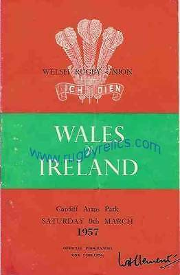 WALES v IRELAND 1957 RUGBY PROGRAMME 9 Mar at CARDIFF