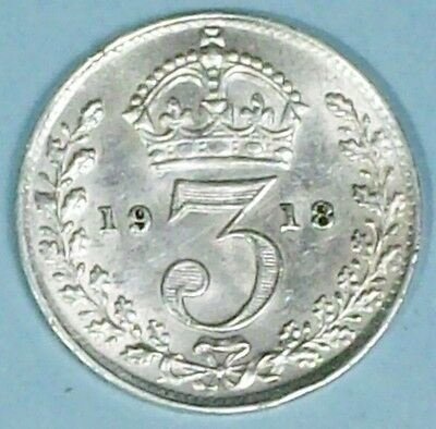 Great Britain 3 Pence 1918 Extra Fine/almost Uncirculated  0.9250 Silver Coin