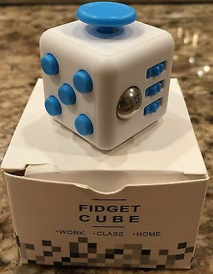 NEW Fidget Cube Aqua Edition White Blue Dials Xmas Gift IN STOCK FREE USPS SHIP!
