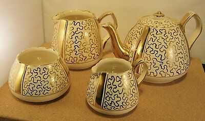 Vintage Lingard Staffordshire Hand-Gilded Tea Service (1930's): VGC+