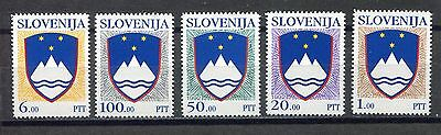 s12208) SLOVENIA SLOVENIJA MNH** 1992, Definitives, state coat of arms 5v
