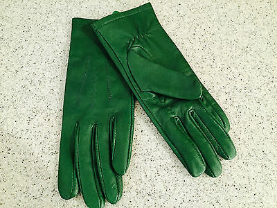 Women's Soft Green Leather Gloves - Size - Small (7)