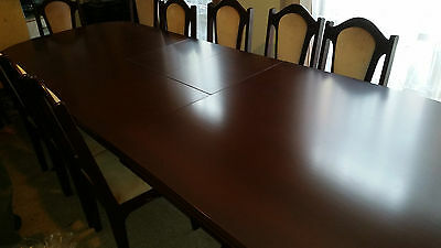12 Seat Extendable Solid Timber Dining Table With 12 Chairs