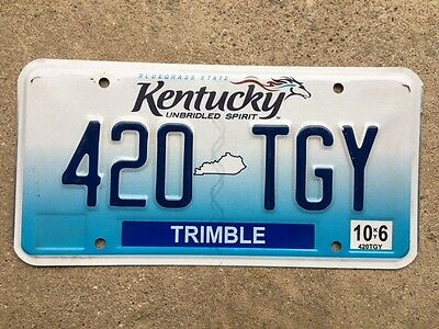 Colorful expired KENTUCKY License plate tag # 420 TGY Trimble County