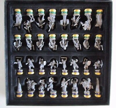 2003 Lord of the Rings Pewter Chess Set The Noble Collection MIB