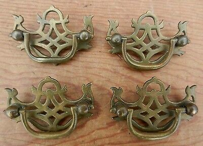 4 Antique Cast Brass 19th Century Chippendale Style Drawer Pulls