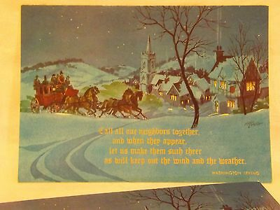 Christmas Card*Midnight Ride In the Snow*Hampton Cards*Unused*R. Barth Artwork*2