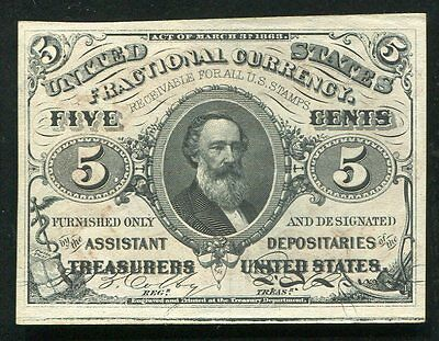 Fr. 1236 5 Five Cents Third Issue Fractional Currency Note Red Back Uncirculated