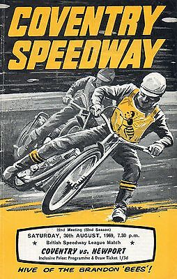 Coventry v Newport speedway programme - 30/8/69