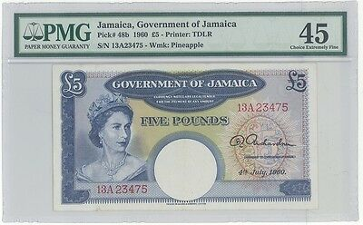Government of Jamaica 5 Pounds 1960 Pick 48b PMG 45