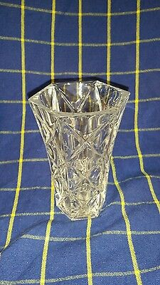 Vintage Clear Pressed Glass Decorative Hexhagonal Vase - 130mm tall in VGC