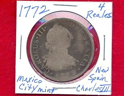 1772 Spain 4 Reales, 1772-Mo, 1772FM, Mexico, Silver