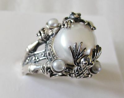 White Freshwater Pearl  Frog Decorated Ring, Sterling Silver sz 9 --10.5mm, 8.5g