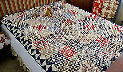 Antique Hand Stitched Calico Old Tippecanoe Quilt